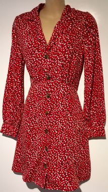 INFLUENCE RED SPOTTY SKATER SHIRT DRESS SIZE 8